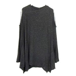 Style & Co Cold Shoulder Shimmer Tunic Black 1X